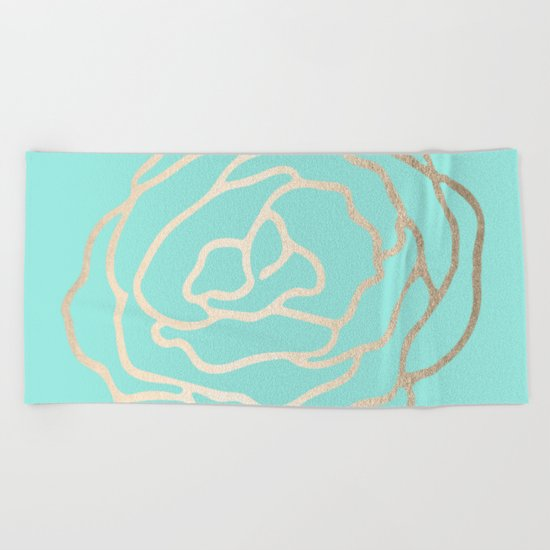 Flower in White Gold Sands on Tropical Sea Blue Beach Towel