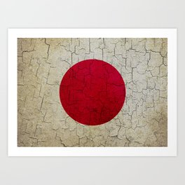 Grunge Japan flag Art Print