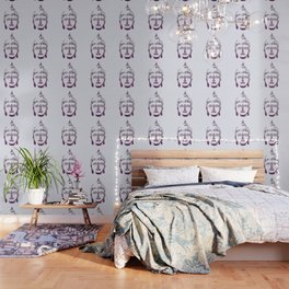 Buddha Head violet - grey Wallpaper