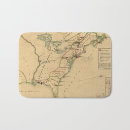 Vintage British Occupation Map of America (1765) Bath Mat