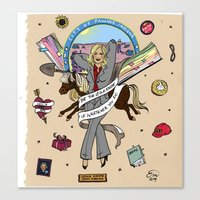 leslie knope Canvas Prints featuring Leslie Knope Pin-Up by Emma Munger
