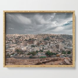 Overlooking the city of Amman in Jordan with Roman Theatre seen from Citadel Serving Tray