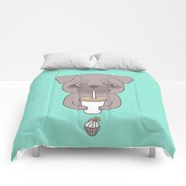 Pug, coffee & cupcake Comforters
