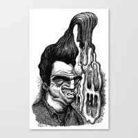 grease Canvas Prints featuring Dave's Grease Ghost by PRESTOONS / Art by Dennis Preston