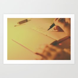 Writing by Candlelight Art Print
