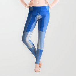Abstract Blue Geometric Mountains Design Leggings