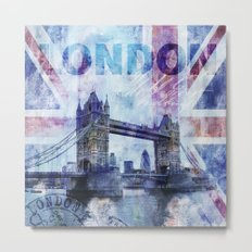 London Tower Bridge mixed media Art and Typography Metal Print