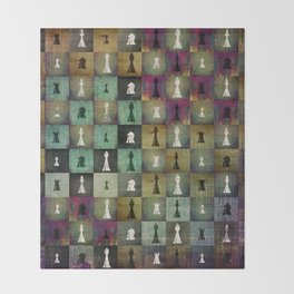 Paint and Print  Chessboard and Chess Pieces pattern Throw Blanket