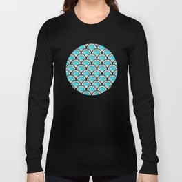 Aqua Art Deco Twenties Fan Pattern Long Sleeve T-shirt