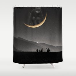 Ride on the moon Shower Curtain