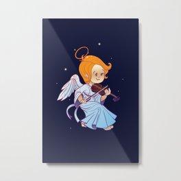 Cute Christmas  baby angel playing violin Metal Print