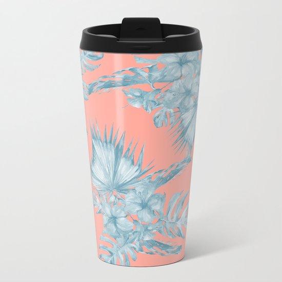 Dreaming of Hawaii Pale Teal Blue on Coral Pink Metal Travel Mug