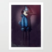 regular show Art Prints featuring Mordecai from Regular Show by Chuck Jackson
