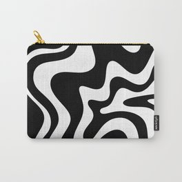 Liquid Swirl Abstract Pattern in Black and White Carry-All Pouch