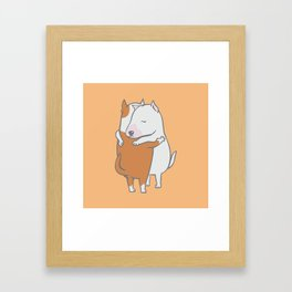 Bull Terrier Hugs Framed Art Print