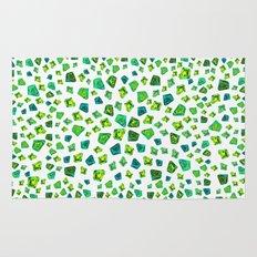 Green beautiful hand drawn gems. Rug