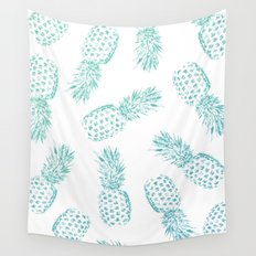 Pineapples Blue Wall Tapestry