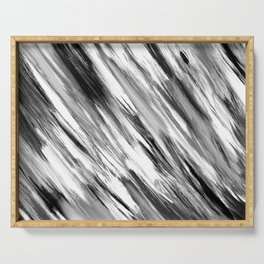 Black and White Painted Tie Dye Multi Media Cool Texture Trending Popular Modern Serving Tray
