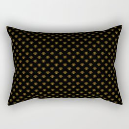 Small Bright Gold Metallic Foil Bees on Black Rectangular Pillow