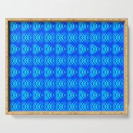 Striped blue hearts on a heavenly background. Serving Tray