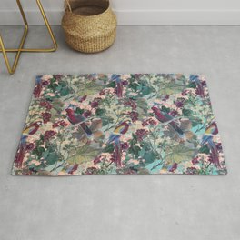 Tiled Parrots and Flora Pattern Rug