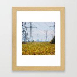 Landscape with power lines Framed Art Print