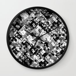 Black and White Patchwork Grunge Wall Clock