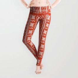 Boho Mud Cloth (Coral) Leggings