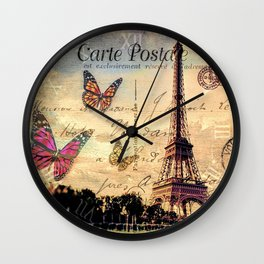 Vintage Paris-Carte Postale Wall Clock