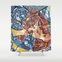 stockholm Shower Curtains featuring STOCKHOLM by C. Reeder