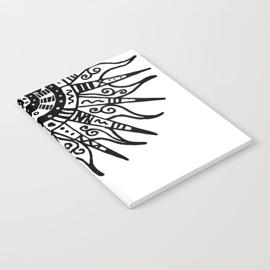 Sun Doodle black and white drawing Notebook