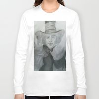 mad hatter Long Sleeve T-shirts featuring Mad hatter by crazy_feline
