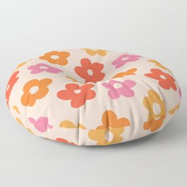 Retro 60s 70s Flowers Pattern #pattern #vintage Floor Pillow