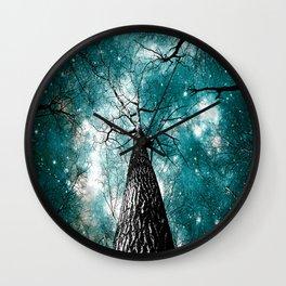 Wintry Trees Galaxy Skies Teal Wall Clock