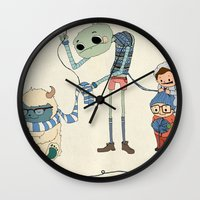 knitting Wall Clocks featuring Knitting Train by Michael Mossner