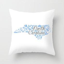 UNC North Carolina State - Blue and Gray University of North Carolina Design Throw Pillow