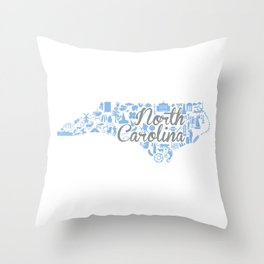UNC North Carolina State - Blue and Gray University of North Carolina Design Throw Pillow