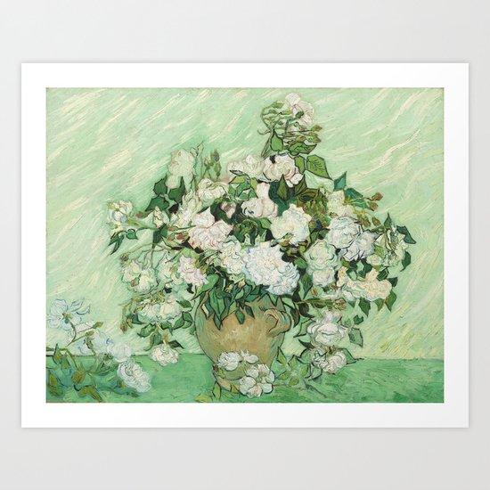 Vase with Pink Roses by Vincent van Gogh Art Print