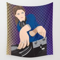 dj Wall Tapestries featuring DJ Pitch by dianaCMYK