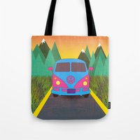 volkswagon Tote Bags featuring Das Auto by Daizy Jain