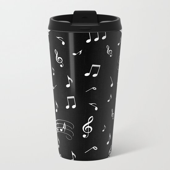 Music White and Black Metal Travel Mug