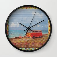vw bus Wall Clocks featuring THE ORANGE VW BUS III by Bones and Balloons