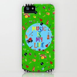 Music is my life (Green) iPhone Case