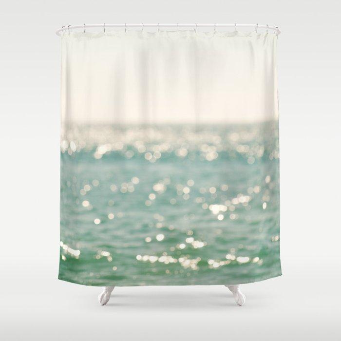Beach Bokeh Sparkle Ocean La Mer Shower Curtain By Myansoffia