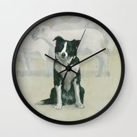 border collie Wall Clocks featuring border collie by phil art guy