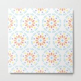 Pastel geometric flowers Metal Print
