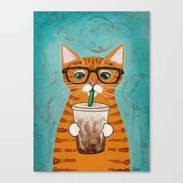 Iced Coffee Cat Canvas Print