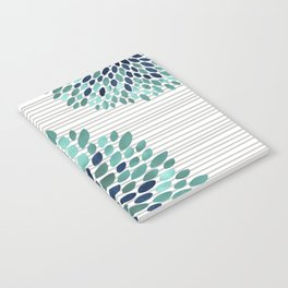 Blooms and Stripes, Aqua and Navy Notebook
