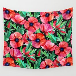 Plenty of Poppies - black Wall Tapestry