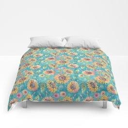 Sunflowers on Turquoise Comforters